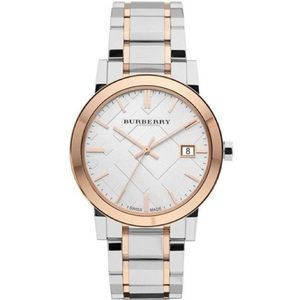 Burberry Large Check Stamped Two-Tone Ladies Watch